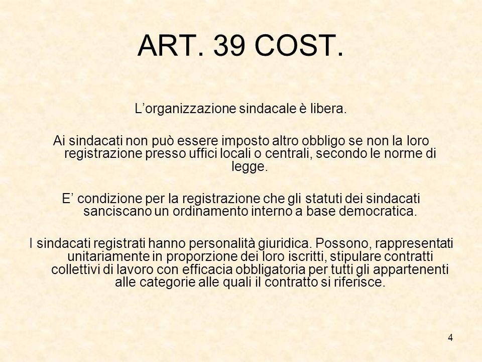 4 ART. 39 COST. Lorganizzazione sindacale è libera. Ai sindacati non può essere imposto altro obbligo se non la loro registrazione presso uffici local