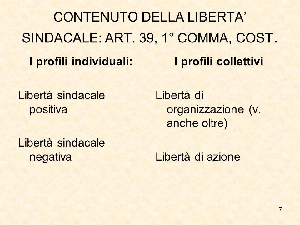 7 CONTENUTO DELLA LIBERTA SINDACALE: ART. 39, 1° COMMA, COST. I profili individuali: Libertà sindacale positiva Libertà sindacale negativa I profili c