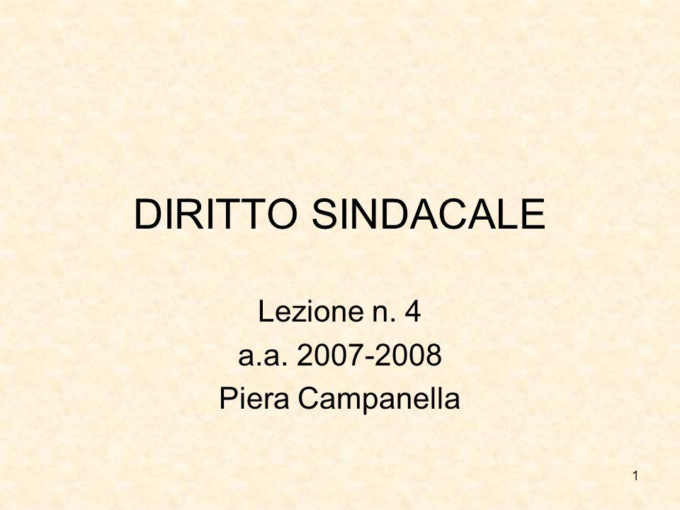 1 DIRITTO SINDACALE Lezione n. 4 a.a. 2007-2008 Piera Campanella