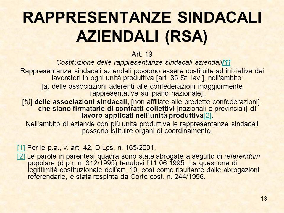 13 RAPPRESENTANZE SINDACALI AZIENDALI (RSA) Art. 19 Costituzione delle rappresentanze sindacali aziendali[1][1] Rappresentanze sindacali aziendali pos