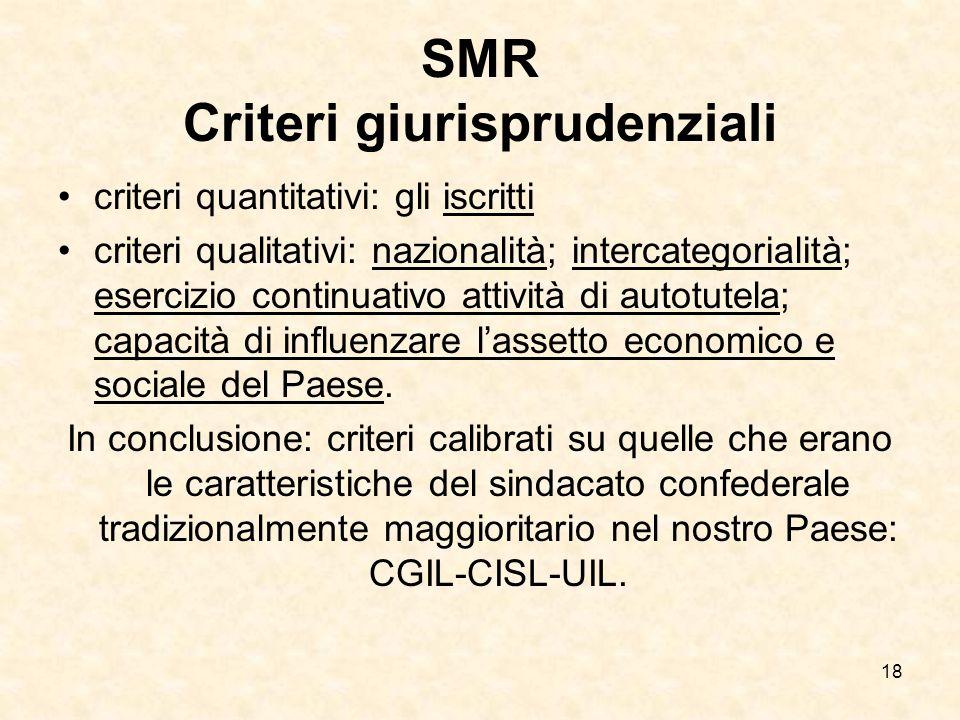 18 SMR Criteri giurisprudenziali criteri quantitativi: gli iscritti criteri qualitativi: nazionalità; intercategorialità; esercizio continuativo attiv