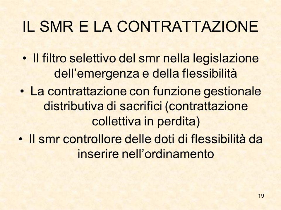 19 IL SMR E LA CONTRATTAZIONE Il filtro selettivo del smr nella legislazione dellemergenza e della flessibilità La contrattazione con funzione gestion