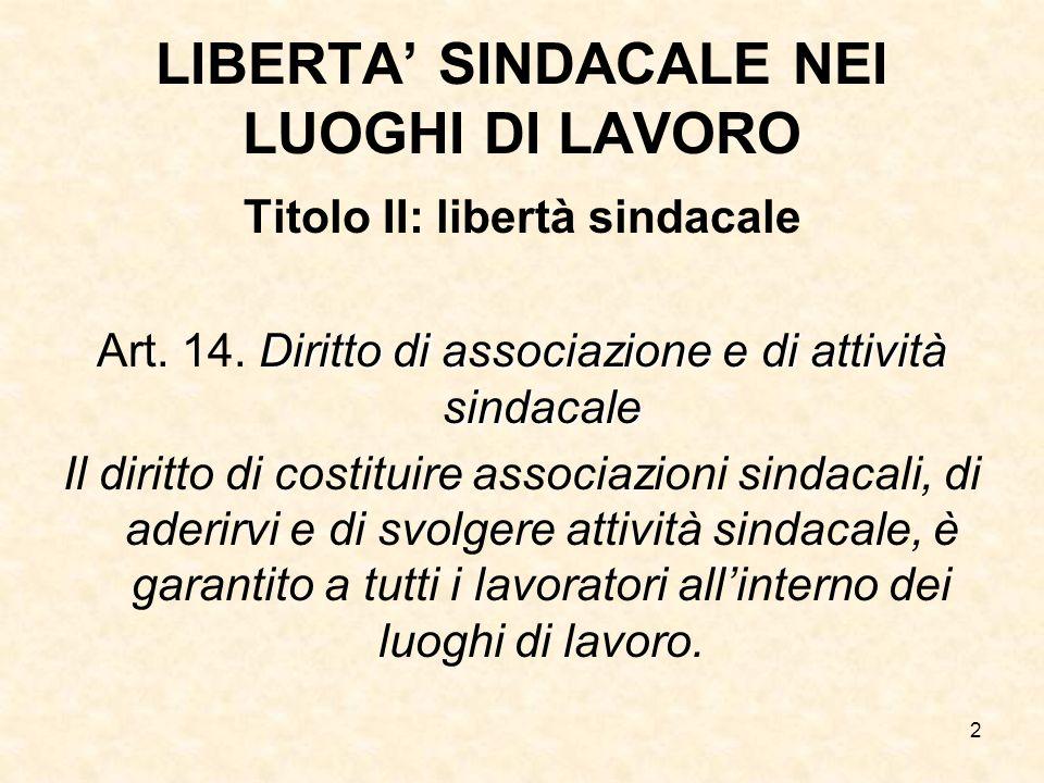 2 LIBERTA SINDACALE NEI LUOGHI DI LAVORO Titolo II: libertà sindacale Diritto di associazione e di attività sindacale Art. 14. Diritto di associazione