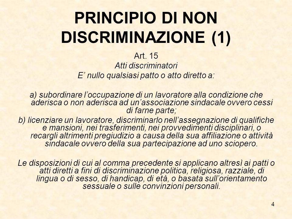 4 PRINCIPIO DI NON DISCRIMINAZIONE (1) Art. 15 Atti discriminatori E nullo qualsiasi patto o atto diretto a: a) subordinare loccupazione di un lavorat