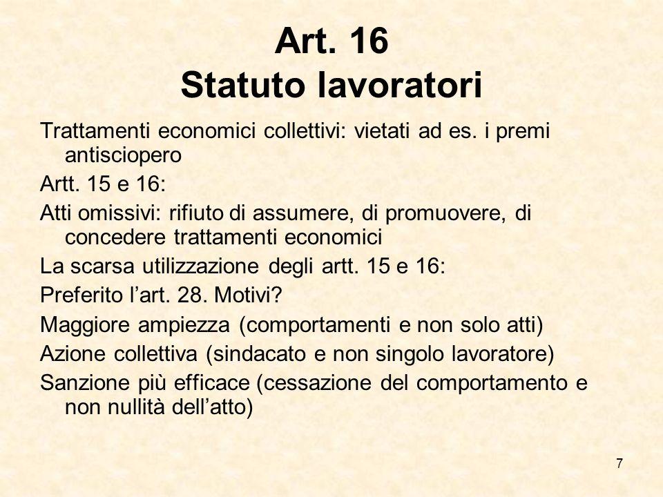 7 Art. 16 Statuto lavoratori Trattamenti economici collettivi: vietati ad es. i premi antisciopero Artt. 15 e 16: Atti omissivi: rifiuto di assumere,