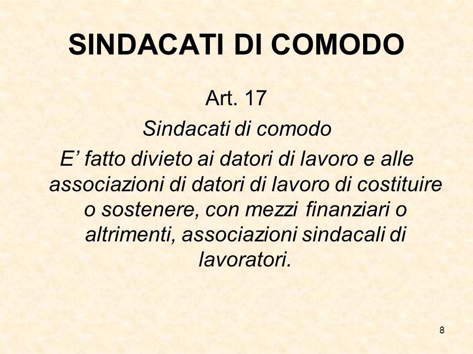 8 SINDACATI DI COMODO Art. 17 Sindacati di comodo E fatto divieto ai datori di lavoro e alle associazioni di datori di lavoro di costituire o sostener