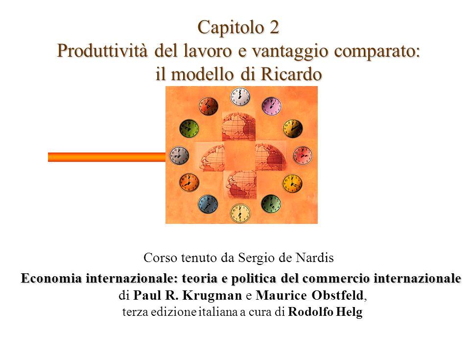 Capitolo 2 Produttività del lavoro e vantaggio comparato: il modello di Ricardo Corso tenuto da Sergio de Nardis Economia internazionale: teoria e pol