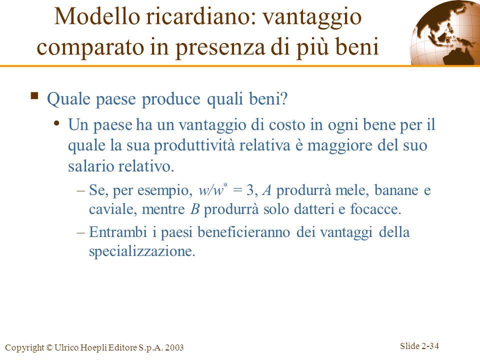 Slide 2-34 Copyright © Ulrico Hoepli Editore S.p.A. 2003 Quale paese produce quali beni? Un paese ha un vantaggio di costo in ogni bene per il quale l