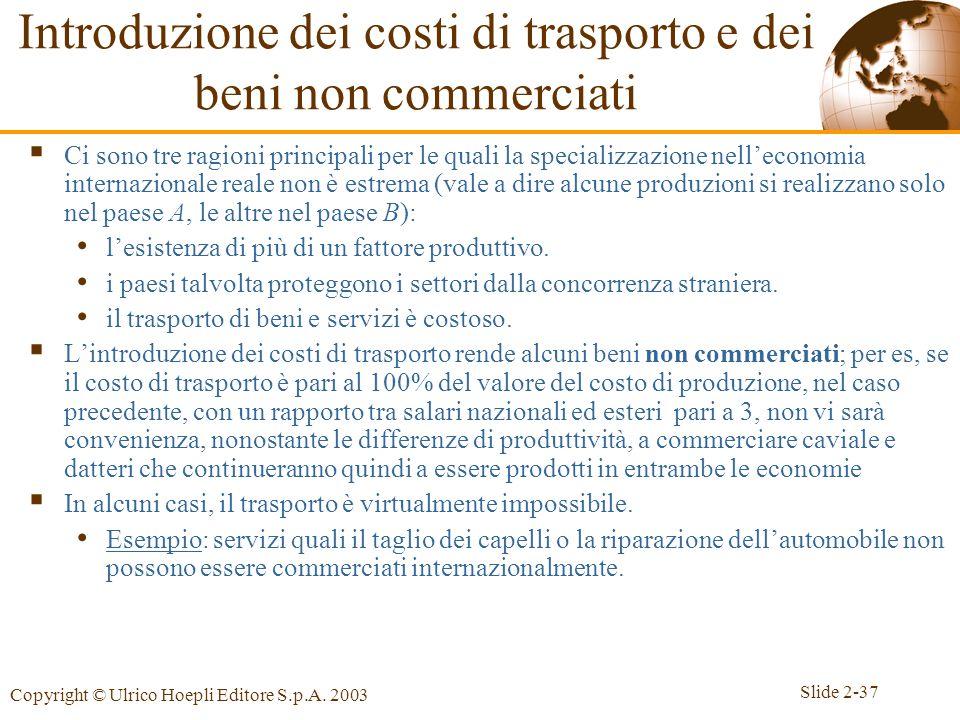 Slide 2-37 Copyright © Ulrico Hoepli Editore S.p.A. 2003 Introduzione dei costi di trasporto e dei beni non commerciati Ci sono tre ragioni principali