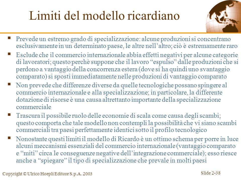 Slide 2-38 Copyright © Ulrico Hoepli Editore S.p.A. 2003 Limiti del modello ricardiano Prevede un estremo grado di specializzazione: alcune produzioni