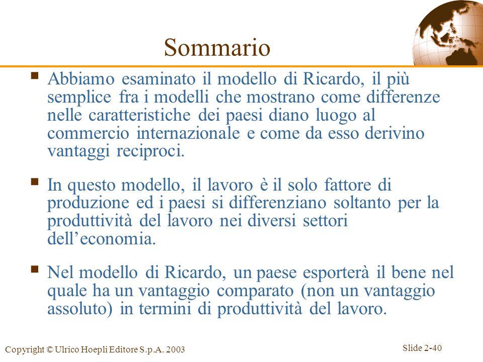 Slide 2-40 Copyright © Ulrico Hoepli Editore S.p.A. 2003 Sommario Abbiamo esaminato il modello di Ricardo, il più semplice fra i modelli che mostrano