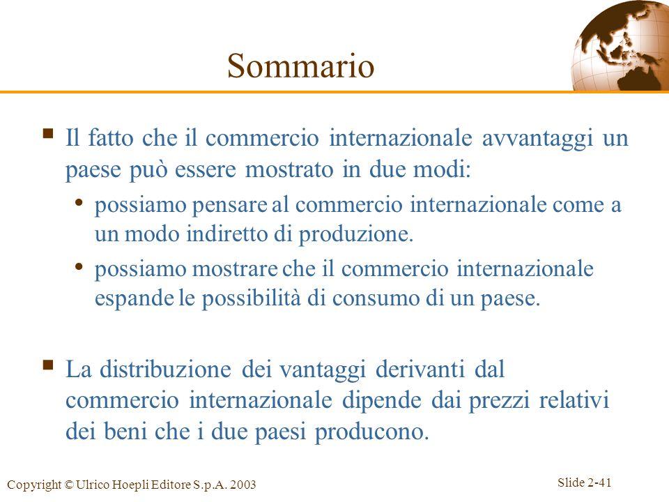 Slide 2-41 Copyright © Ulrico Hoepli Editore S.p.A. 2003 Il fatto che il commercio internazionale avvantaggi un paese può essere mostrato in due modi: