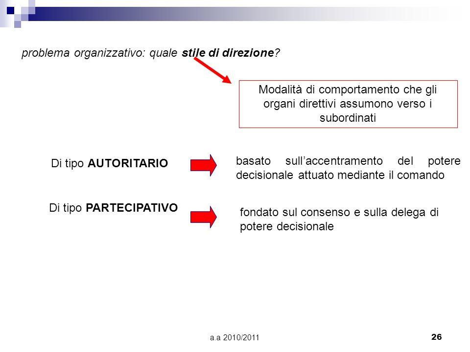 a.a 2010/201126 problema organizzativo: quale stile di direzione? Modalità di comportamento che gli organi direttivi assumono verso i subordinati Di t