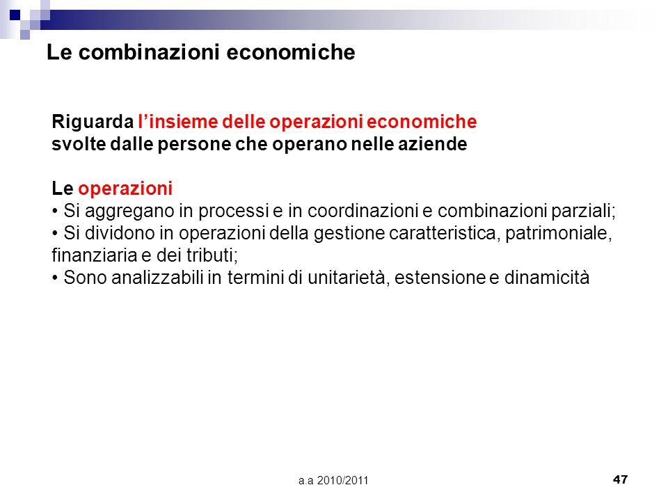 a.a 2010/201147 Riguarda linsieme delle operazioni economiche svolte dalle persone che operano nelle aziende Le operazioni Si aggregano in processi e