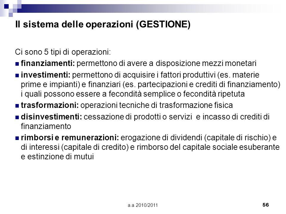 a.a 2010/201156 Il sistema delle operazioni (GESTIONE) Ci sono 5 tipi di operazioni: finanziamenti: permettono di avere a disposizione mezzi monetari