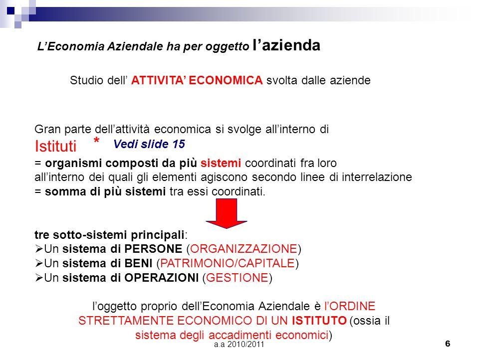 a.a 2010/20116 LEconomia Aziendale ha per oggetto lazienda Studio dell ATTIVITA ECONOMICA svolta dalle aziende Gran parte dellattività economica si sv