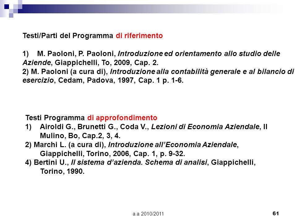 a.a 2010/201161 Testi/Parti del Programma di riferimento 1)M. Paoloni, P. Paoloni, Introduzione ed orientamento allo studio delle Aziende, Giappichell