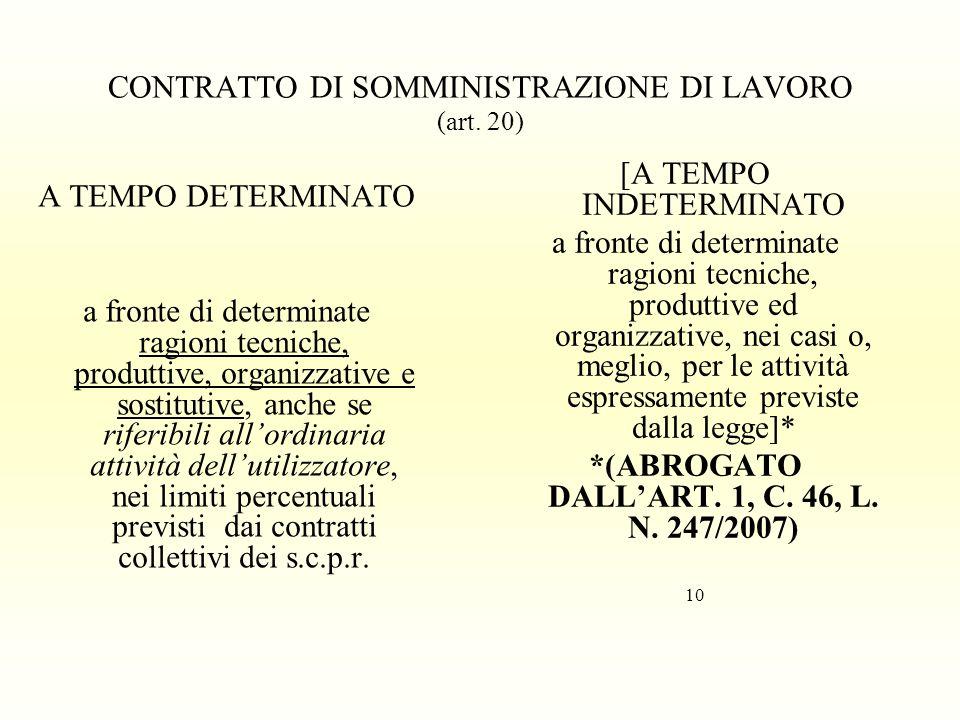 CONTRATTO DI SOMMINISTRAZIONE DI LAVORO (art. 20) [A TEMPO INDETERMINATO a fronte di determinate ragioni tecniche, produttive ed organizzative, nei ca