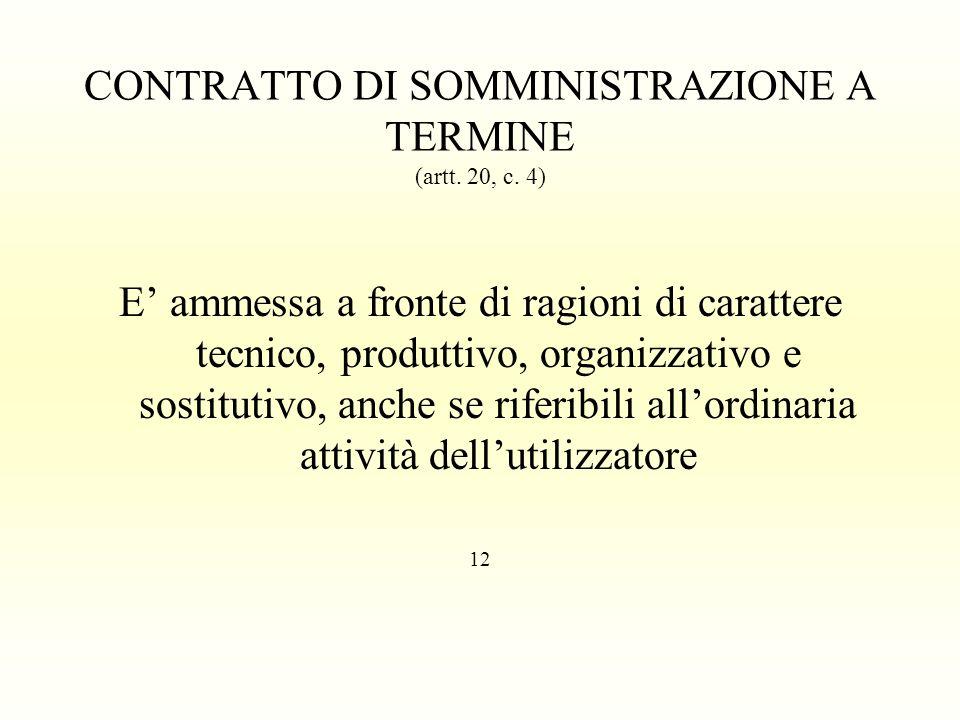 CONTRATTO DI SOMMINISTRAZIONE A TERMINE (artt. 20, c. 4) E ammessa a fronte di ragioni di carattere tecnico, produttivo, organizzativo e sostitutivo,