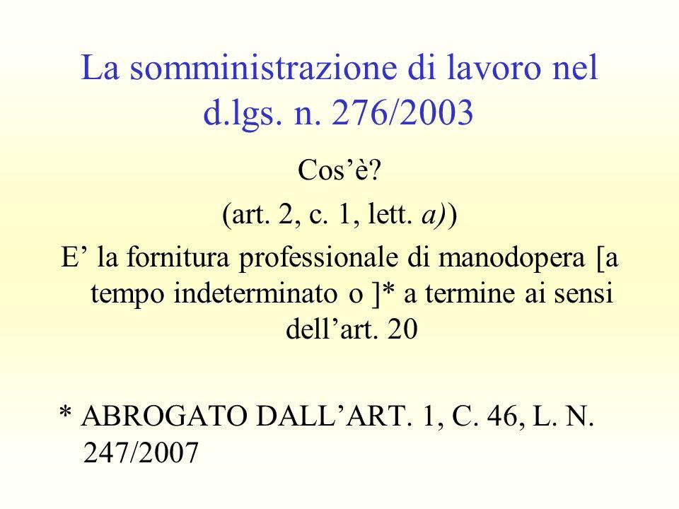 La somministrazione di lavoro nel d.lgs. n. 276/2003 Cosè? (art. 2, c. 1, lett. a)) a tempo indeterminato E la fornitura professionale di manodopera [