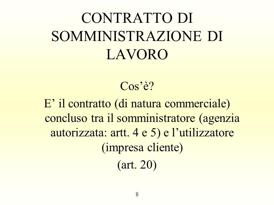 CONTRATTO DI SOMMINISTRAZIONE DI LAVORO Cosè? E il contratto (di natura commerciale) concluso tra il somministratore (agenzia autorizzata: artt. 4 e 5