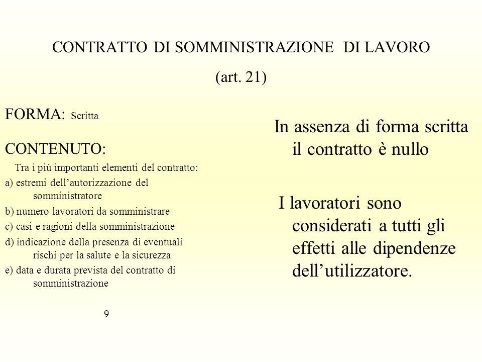 CONTRATTO DI SOMMINISTRAZIONE DI LAVORO (art. 21) FORMA: Scritta CONTENUTO: Tra i più importanti elementi del contratto: a) estremi dellautorizzazione