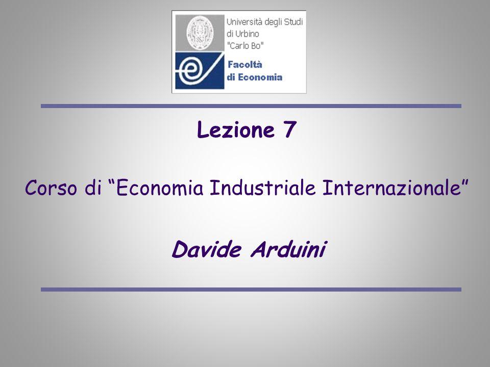 Lezione 7 Corso di Economia Industriale Internazionale Davide Arduini