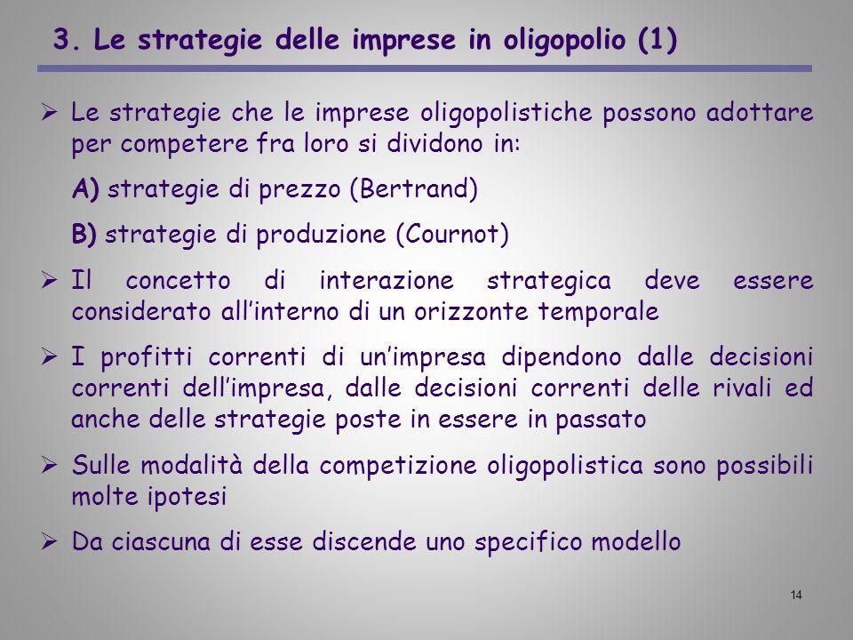 14 3. Le strategie delle imprese in oligopolio (1) Le strategie che le imprese oligopolistiche possono adottare per competere fra loro si dividono in: