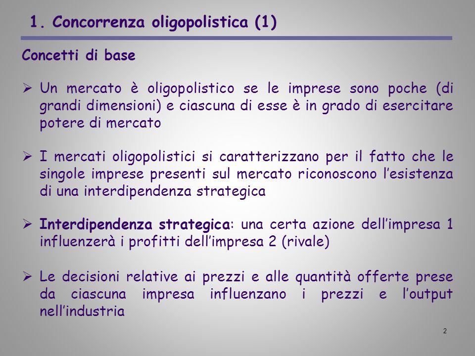 2 1. Concorrenza oligopolistica (1) Concetti di base Un mercato è oligopolistico se le imprese sono poche (di grandi dimensioni) e ciascuna di esse è