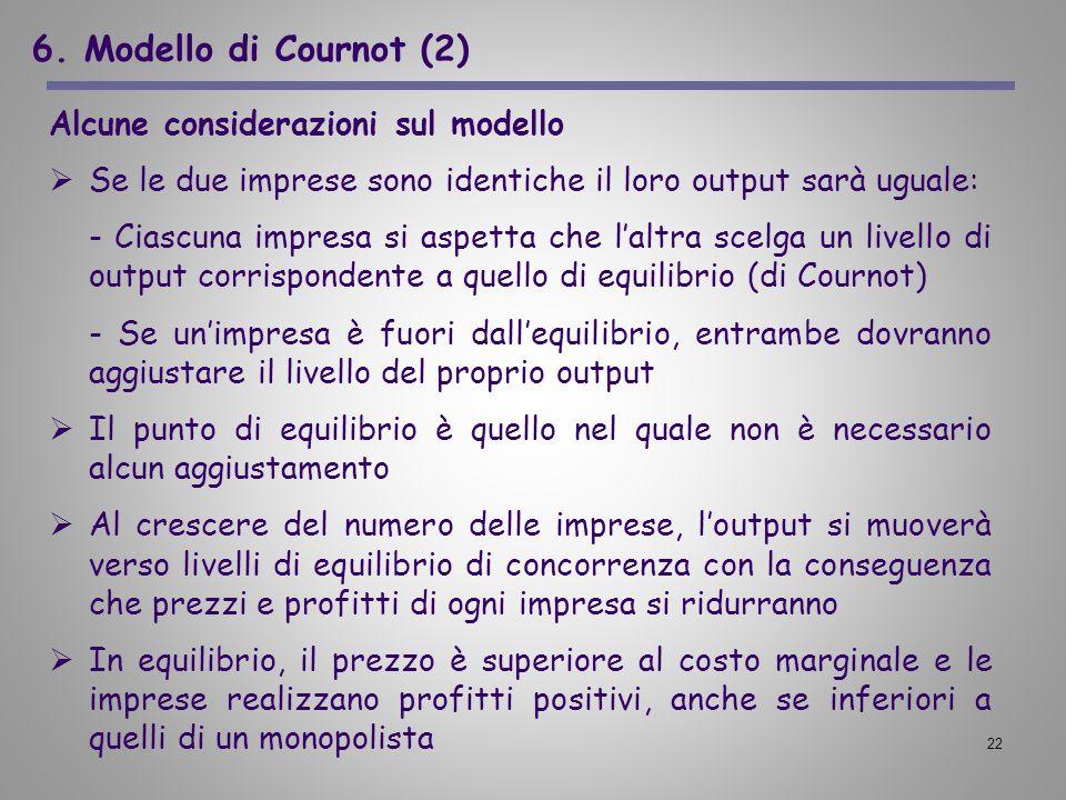 22 6. Modello di Cournot (2) Alcune considerazioni sul modello Se le due imprese sono identiche il loro output sarà uguale: - Ciascuna impresa si aspe