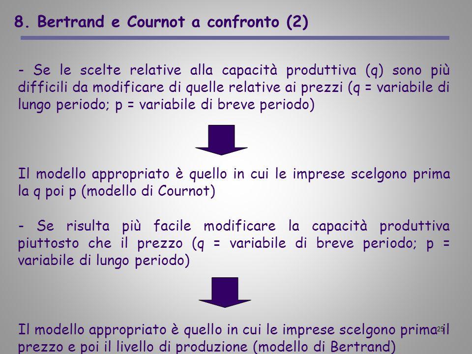 25 8. Bertrand e Cournot a confronto (2) - Se le scelte relative alla capacità produttiva (q) sono più difficili da modificare di quelle relative ai p