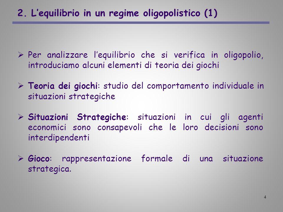 4 2. Lequilibrio in un regime oligopolistico (1) Per analizzare lequilibrio che si verifica in oligopolio, introduciamo alcuni elementi di teoria dei