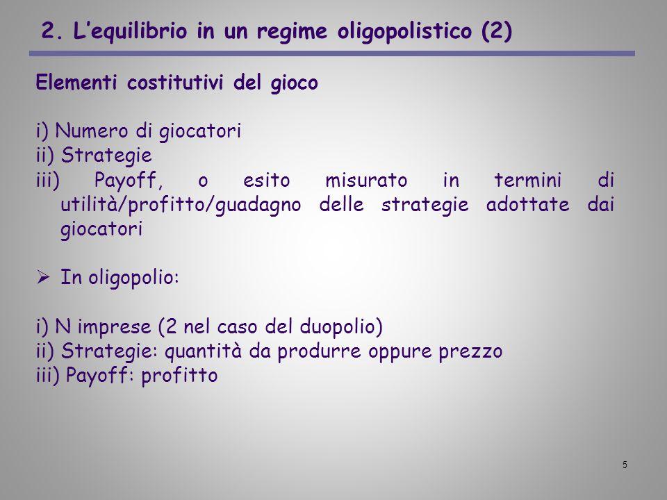 5 2. Lequilibrio in un regime oligopolistico (2) Elementi costitutivi del gioco i) Numero di giocatori ii) Strategie iii) Payoff, o esito misurato in