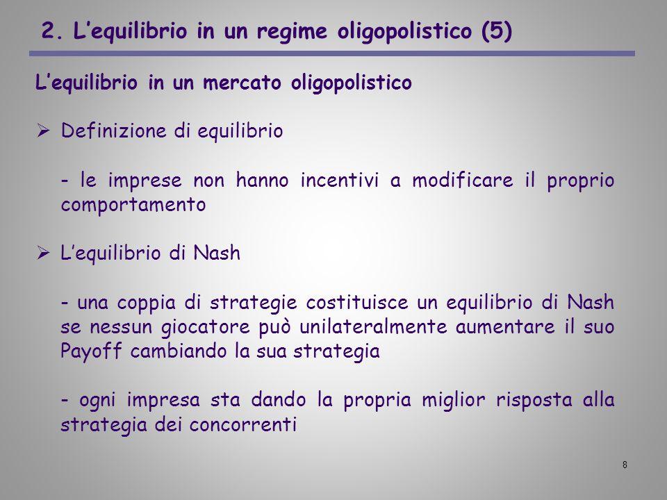 8 2. Lequilibrio in un regime oligopolistico (5) Lequilibrio in un mercato oligopolistico Definizione di equilibrio - le imprese non hanno incentivi a
