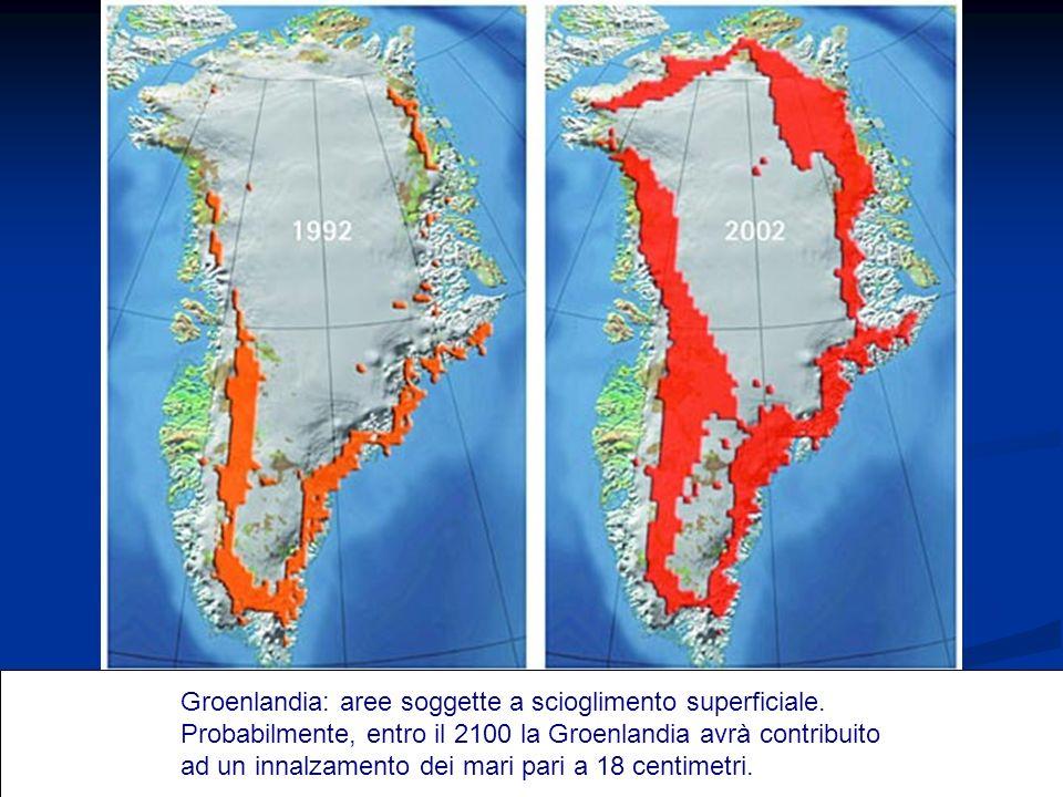 Groenlandia: aree soggette a scioglimento superficiale. Probabilmente, entro il 2100 la Groenlandia avrà contribuito ad un innalzamento dei mari pari