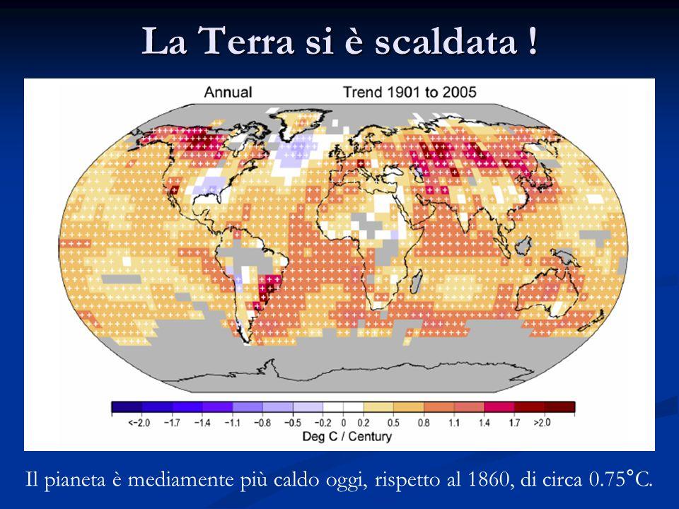 La Terra si è scaldata ! Il pianeta è mediamente più caldo oggi, rispetto al 1860, di circa 0.75°C.