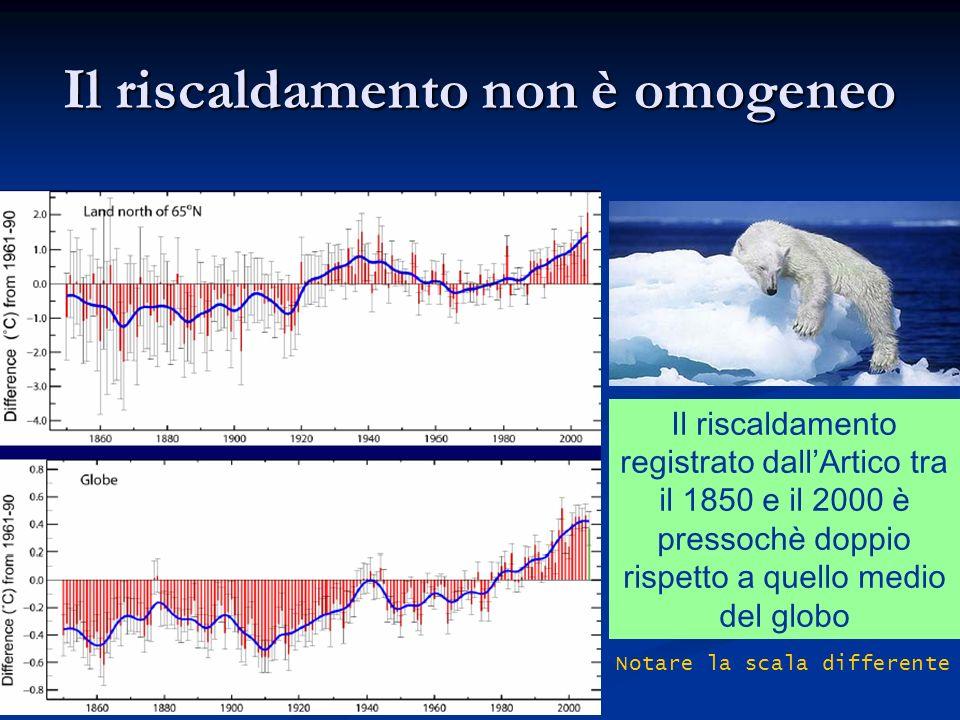 Il riscaldamento non è omogeneo Il riscaldamento registrato dallArtico tra il 1850 e il 2000 è pressochè doppio rispetto a quello medio del globo Nota