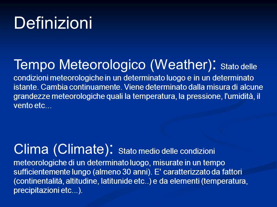 Definizioni Tempo Meteorologico (Weather) : Stato delle condizioni meteorologiche in un determinato luogo e in un determinato istante. Cambia continua
