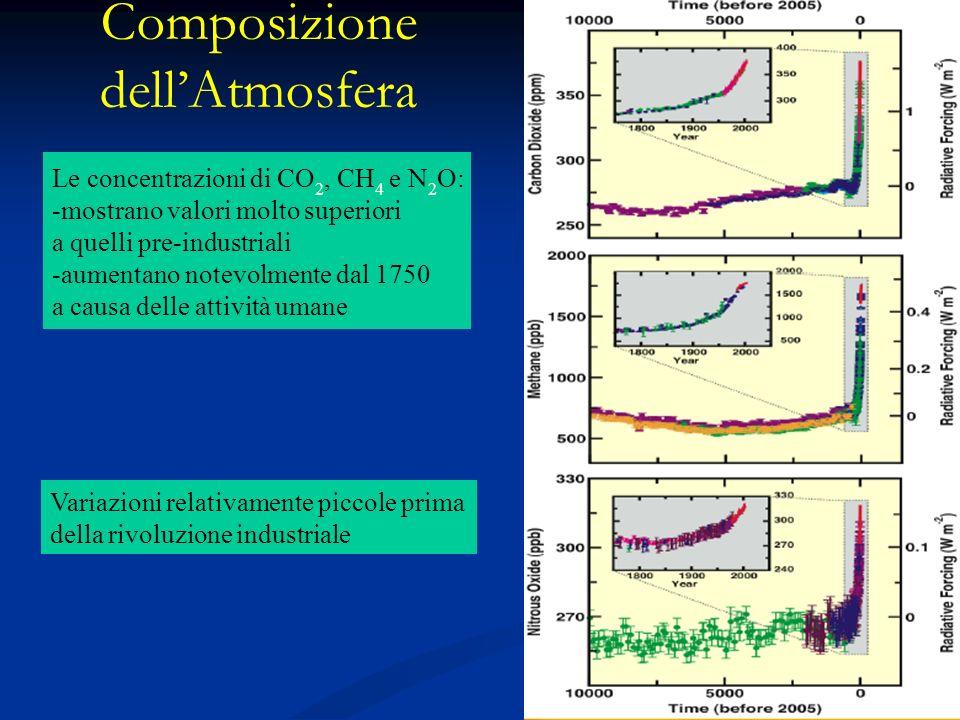 Composizione dellAtmosfera Le concentrazioni di CO 2, CH 4 e N 2 O: -mostrano valori molto superiori a quelli pre-industriali -aumentano notevolmente