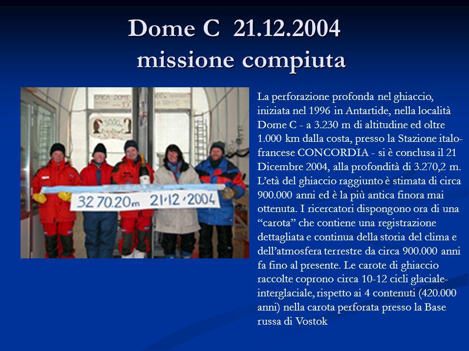 Dome C 21.12.2004 missione compiuta La perforazione profonda nel ghiaccio, iniziata nel 1996 in Antartide, nella località Dome C - a 3.230 m di altitu