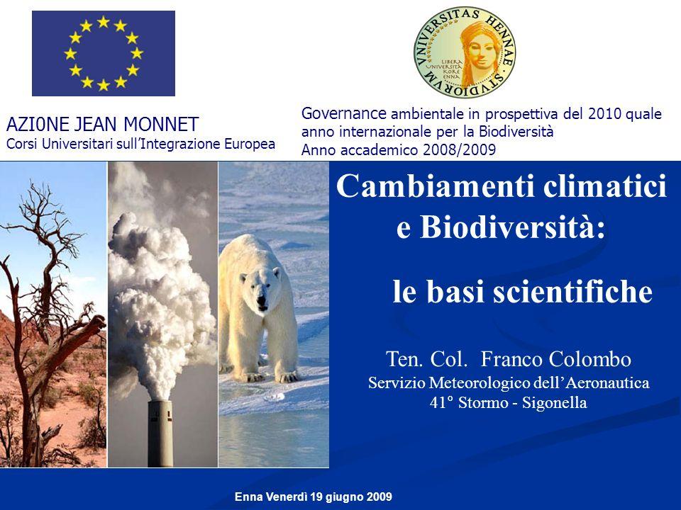 Cambiamenti climatici e Biodiversità: le basi scientifiche Ten. Col. Franco Colombo Servizio Meteorologico dellAeronautica 41° Stormo - Sigonella AZI0