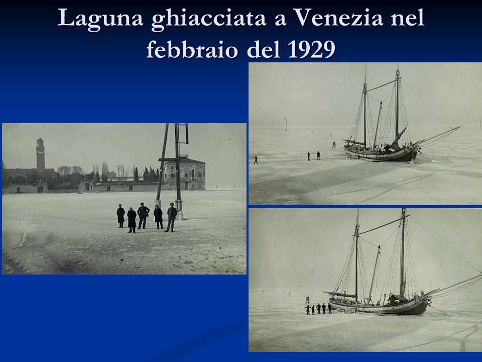 Laguna ghiacciata a Venezia nel febbraio del 1929