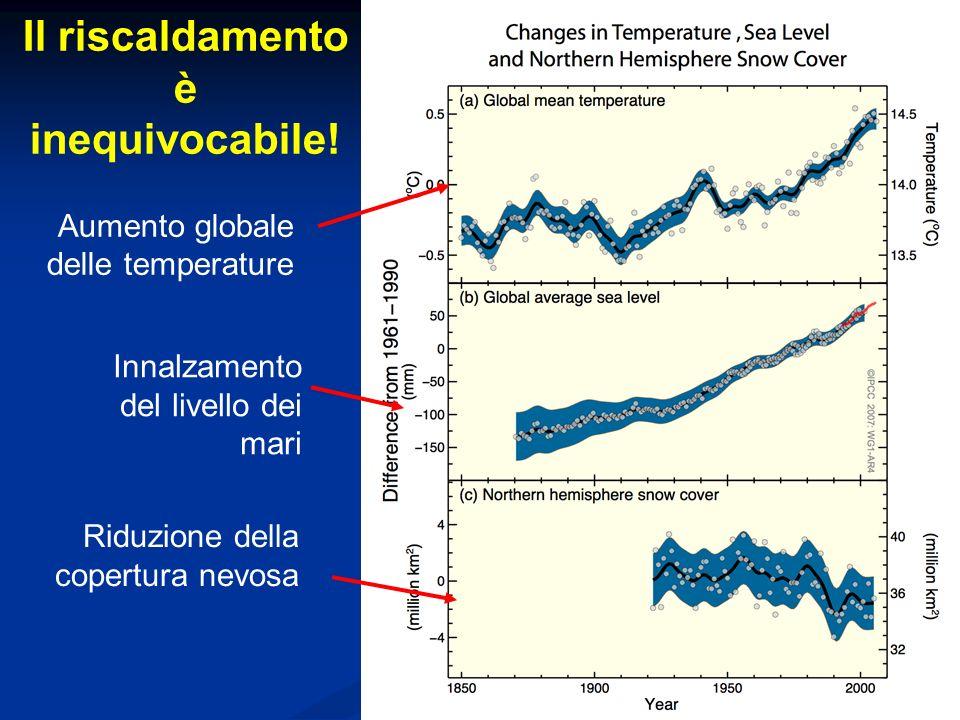 La sintesi delle dichiarazioni dellIPCC …… IPCC (1990) Si inizia ad ampliare la base scientifica di discussione sui cambiamenti climatici e si dibatte sulle incertezze e sulle evidenze del riscaldamento IPCC (1995) Ci sono molte evidenze che suggeriscono una apprezzabile influenza delluomo sui cambiamenti climatici IPCC (2001) La gran parte del riscaldamento degli ultimi 50 anni è probabilmente (>66%) attribuibile alle attività umane.