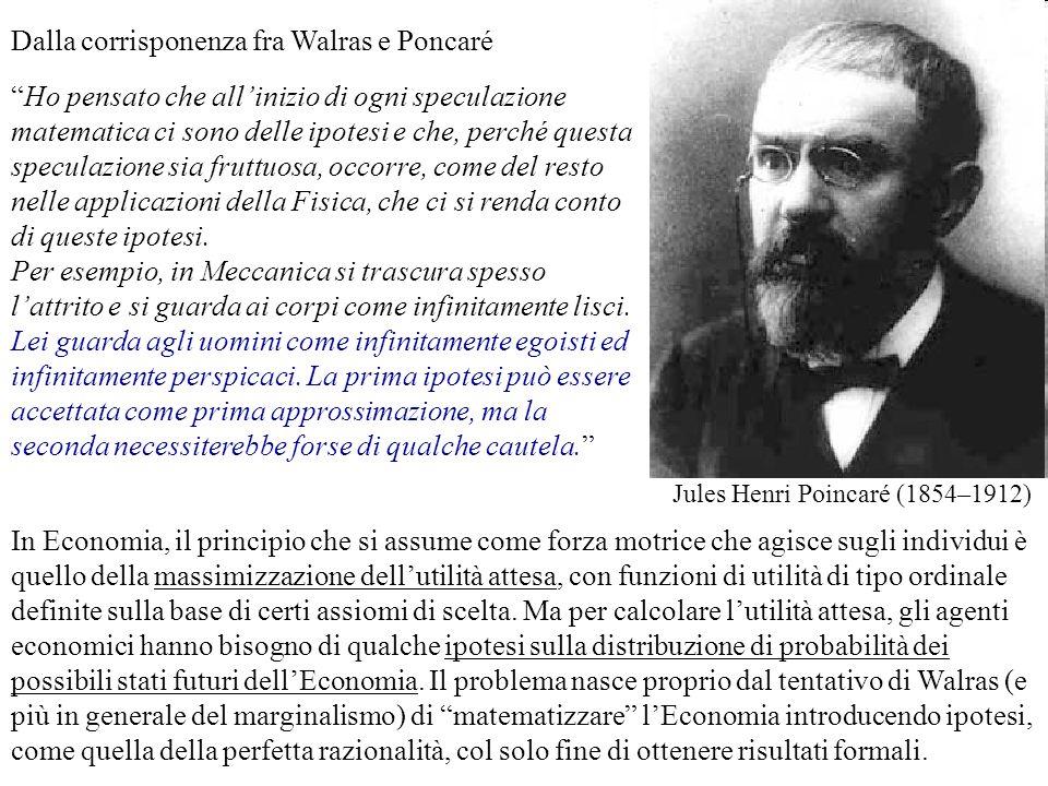 Dalla corrisponenza fra Walras e Poncaré Jules Henri Poincaré (1854–1912) Ho pensato che allinizio di ogni speculazione matematica ci sono delle ipote