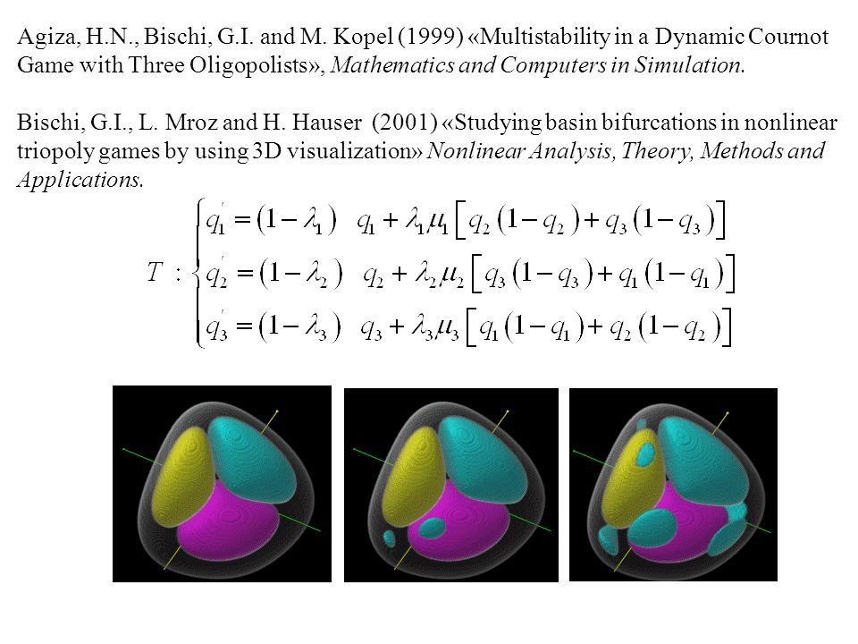 Agiza, H.N., Bischi, G.I. and M. Kopel (1999) «Multistability in a Dynamic Cournot Game with Three Oligopolists», Mathematics and Computers in Simulat