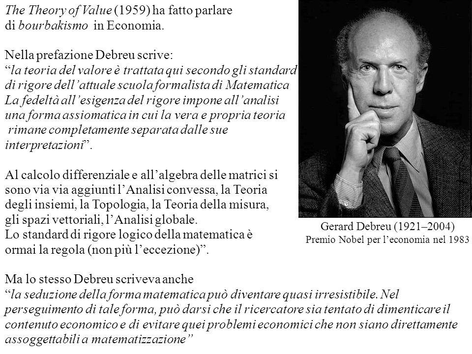 The Theory of Value (1959) ha fatto parlare di bourbakismo in Economia. Nella prefazione Debreu scrive: la teoria del valore è trattata qui secondo gl