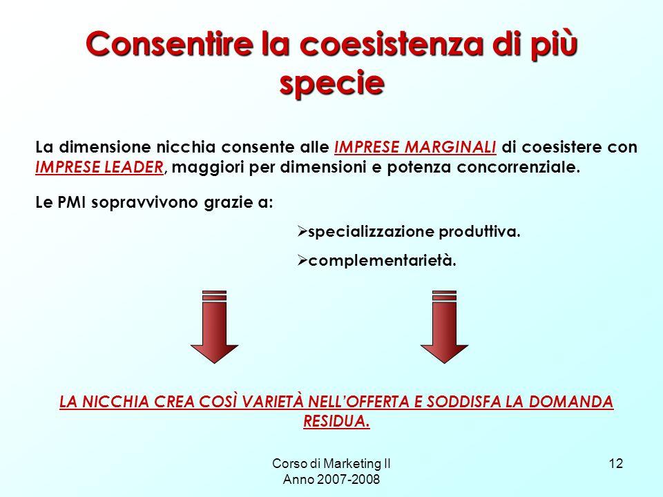 Corso di Marketing II Anno 2007-2008 12 Consentire la coesistenza di più specie La dimensione nicchia consente alle IMPRESE MARGINALI di coesistere con IMPRESE LEADER, maggiori per dimensioni e potenza concorrenziale.