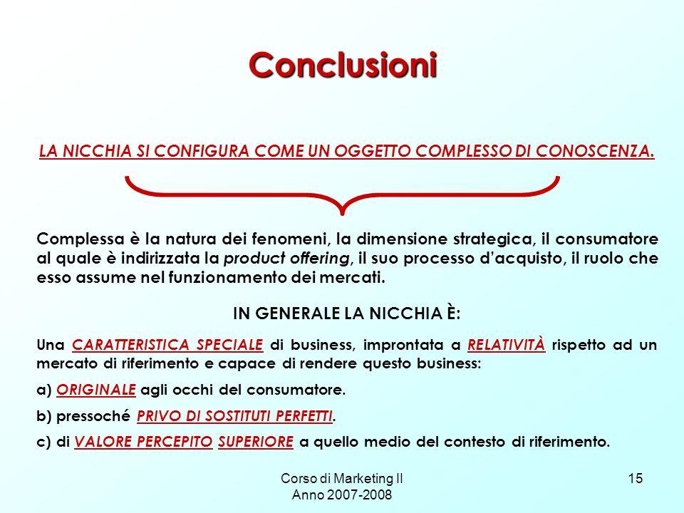 Corso di Marketing II Anno 2007-2008 15 Conclusioni LA NICCHIA SI CONFIGURA COME UN OGGETTO COMPLESSO DI CONOSCENZA.