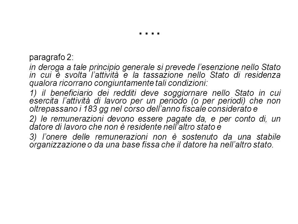 …. paragrafo 2: in deroga a tale principio generale si prevede lesenzione nello Stato in cui è svolta lattività e la tassazione nello Stato di residen