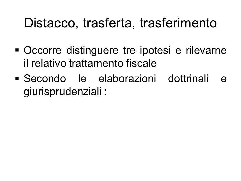 Distacco, trasferta, trasferimento Occorre distinguere tre ipotesi e rilevarne il relativo trattamento fiscale Secondo le elaborazioni dottrinali e gi